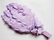 Hot selling baby feather flower cotton elastic headband Newborn Feather Headbands