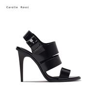 Importados de china black high heel beautiful roman sandal zapatos