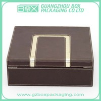 hinged brown luxurious leather chocolate boxes