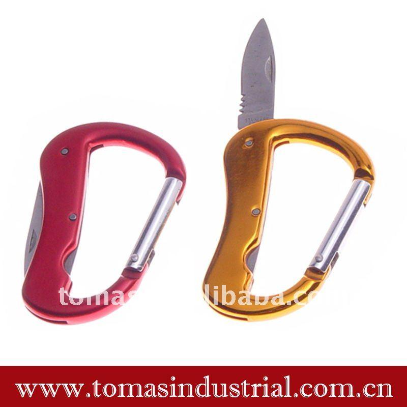 Bonito multi-função faca mosquetão chaveiro