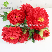 Cheap wholesale artificial flowers wedding decoration and home decoration five heads peony silk artificial flower