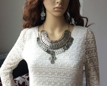 wholesale yiwu supplier best selling alloy tassel jewelry statement coin pendant necklace women accessories