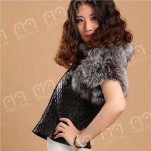 MBA Furs ladies' fashion sheep leather vest with silver fox fur cuff