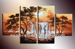 2015 modern group waterfall oil paintings on the wall