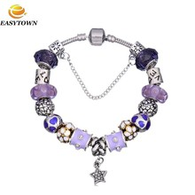 Fashion lampwork murano glass beads purple italy murano beads fit European charm bracelet friendship bracelet