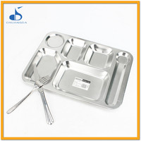 rectangular stainless steel tray dinner plates metal hospital first food tray with 5 compartments