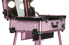 Lighted Studio Makeup Case w/ Lights/Legs - Pink Bling