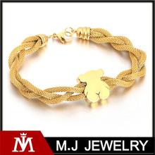Yiwu fábrica de joyas pulsera de acero inoxidable con el oso de oro en forma de malla de la joyería india