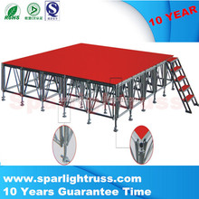Cheap 1.22x1.22m wooden assembly movable aluminum stage