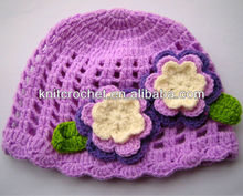 Cute Crochet Hat Pattern with Flowers, Beanie, Cloche, Newborn Photography Prop (1027)