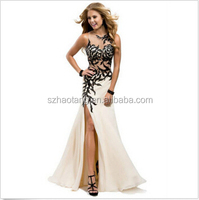 Sheath crew see through black lace qppliqued sexy front slit wedding dress wedding dress evening