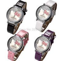 2015 hello kitty Cute cartoon watches Woman girl Children quartz watch gift fashion leather Wrist Watch Christmas Gift Relogio