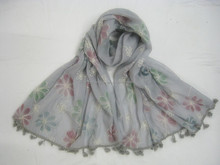 Fashion popular designer coloful flower embroided scarf with pop,hijab infinity scarf,breads scarf