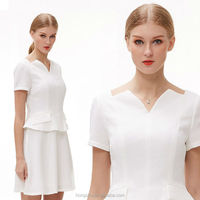 Pictures formal office dress for ladies V neck women office uniform style dresses HSD6203