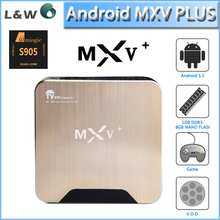 Competitive price for MXV Plus xbmc Internet tv box Amlogic S905 Quad Core TV Box support 4K H.265 Kodi 15.1 Fully Load tv wifi