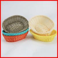 100% woven plastic rattan wicker handmade bread basket
