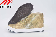 New design lace up new style Golden/Silver leather shoes Shiny Lace up with Zippers Casual Shoes for Women /ladies