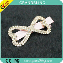 Rhinestone bow shape with pink ribbon on the back clip very beautiful hair pins for girl