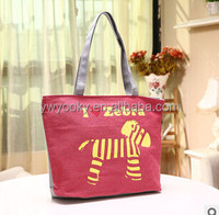 2015 hot selling cute zebra printed zipper closure girls cotton canvas reusable shopping bags with logo