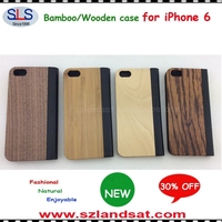 2015 New and Hot Sale wood plastic case for iphone 6 wood leather flip case IPC365