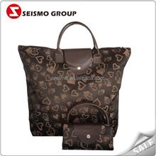 wholesale eco nylon foldable reusable luxury fashion tote shopping bag