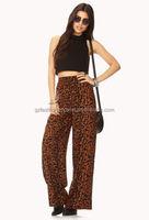 wholesale lady printing polyester cotton spandex capri pants