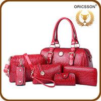 Genuine Leather Material 4pcs Women Gender Handbags