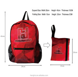 2015 Manufacturer high quality light weight simple folding backpack school bag for hilking and traveling