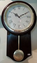 Top quality new arrival contracted style high quality decoration glass lens pendulum wooden wall clock