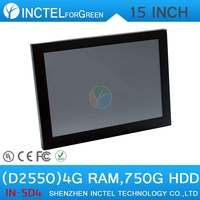 """audio-visual center HDPC living room computer all in one touchscreen PC with LED 2mm panel 15"""" D2550 Dual Core 1.86Ghz"""