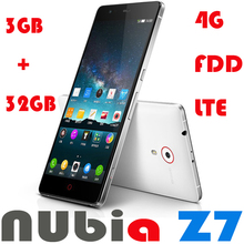 New ZTE Nubia Z7 4G LTE Mobile phone Qualcomm Snapdragon 801 Quad Core 2.5GHz 5 inch 2K 2560*1440 Screen 3GB RAM Android 4.4 NFC