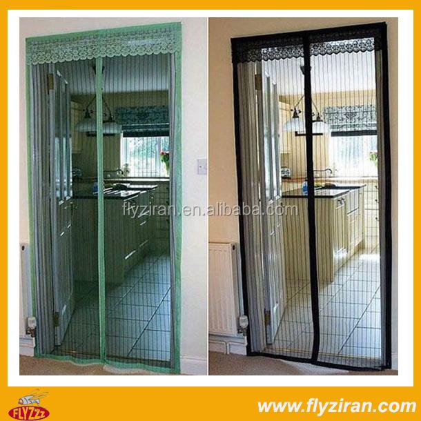 Black magnetic screen door magnetic mosquito net door for Buy screen door