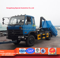 Dongfeng 153 dumpster truck, hooklift waste truck 12cbm, roll-off dustbin lorry 10tons RHD and LHD