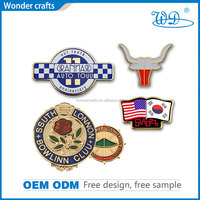 China country professional supplier cheap custom engraving zinc alloy imitation gold plating soft enamel security badge