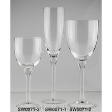 Champagne flute and wine drinking glassware table set