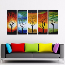 Alibaba Top Supplier Wholesale High Quality 5 Pieces Group Modern Abstract Colorful Trees Oil Painting On Canvas