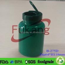 Plastic Fruit Candy Bottle Flip Cap,SGS PET Candy Empty Bottle,Green PET Candy Jar Flip Top Cap