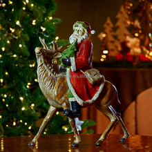 Hot Seller High Quality Wholesale 14 inch H Christms Resin Santa Claus with deer