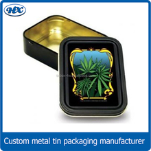 Black candy tin box with green grass patterne for the christmas day