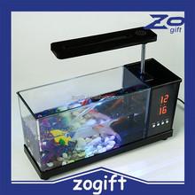 ZOGIFT Ornamental pet fish aquarium,Fashion led light mini fish tank USB aquarium for decorative