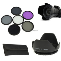New Arrival Best Promotion 58mm UV CPL PLD ND2 ND4 ND8 Filter Kit With Lens Hood Cap For Nikon For Canon Camera
