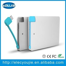 Ultra Thin 2500 mah Polymer Credit Card Mobile Power Bank with Built In USB Cable Pocket Power External Battery Charger