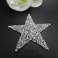 Xinmili Manufacture crystal applique for garment patch star shape silver color with glue iron on for clothing/shoe decoration