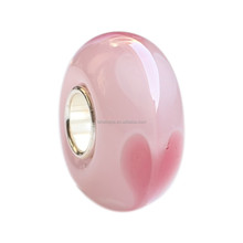 Wholesale Valentine's Day Hearts Murano Glass Bead with 925 Sterling Silver Tube For European Bracelets