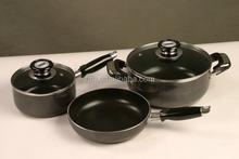 Zhejiang feihong E9 5pcs aluminum kitchen cookware sets includes soup pot sauce pan and fry pan with kitchen utensils