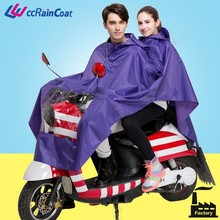 Double riding purple motorcycle rain poncho