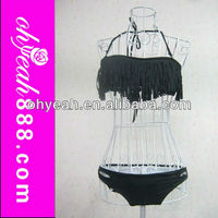 Prompt delivery top quality hot sale sexy ladies black fringe bikini