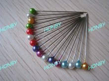 2.1'' Assorted Colors Pearl Bead Stick Pin for Corsage