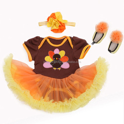 3pcs Kids Baby Girls Outfits Set Headband+ T-shirt +Shoes Thanksgiving Clothes