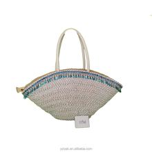 Monochrome sequins lace corn husk straw bag,natural bag